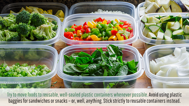 Try to move foods to reusable, well-sealed plastic containers whenever possible. Avoid using plastic baggies for sandwiches or snacks – or, well, anything. Stick strictly to reusable containers instead.