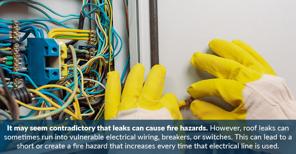 It may seem contradictory that leaks can cause fire hazards. However, roof leaks can sometimes run into vulnerable electrical wiring, breakers, or switches. This can lead to a short or create a fire hazard that increases every time that electrical line is used.