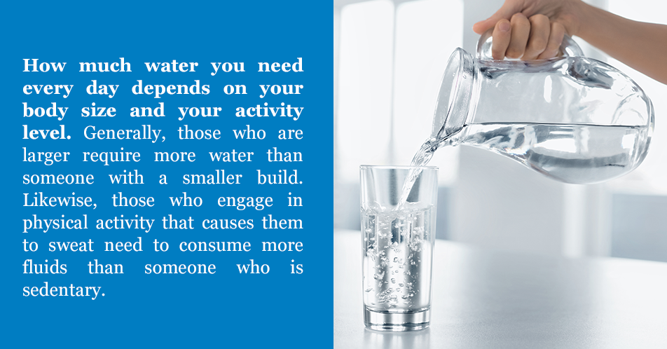 How much water you need every day depends on your body size and your activity level. Generally, those who are larger require more water than someone with a smaller build. Likewise, those who engage in physical activity that causes them to sweat need to consume more fluids than someone who is sedentary.