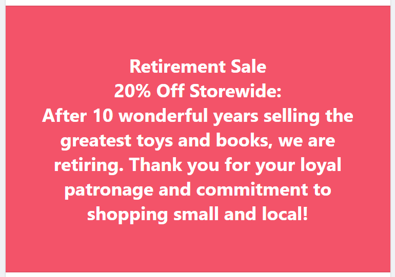 Retirement Sale