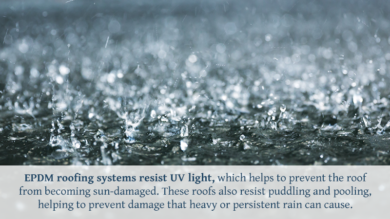 EPDM roofing systems resist UV light, which helps to prevent the roof from becoming sun-damaged. These roofs also resist puddling and pooling, helping to prevent damage that heavy or persistent rain can cause.