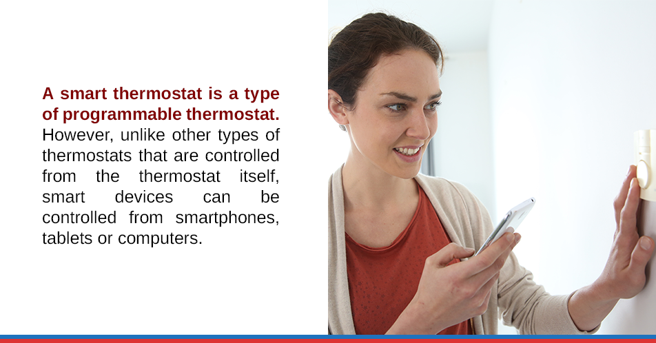 A smart thermostat is a type of programmable thermostat. However, unlike other types of thermostats that are controlled from the thermostat itself, smart devices can be controlled from smartphones, tablets or computers.