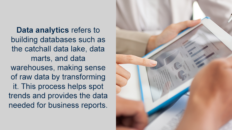 Data analytics refers to building the databases such as the catchall data lake, mining the raw data, and transforming it. This process spots trends and provides the data needed for business reports.