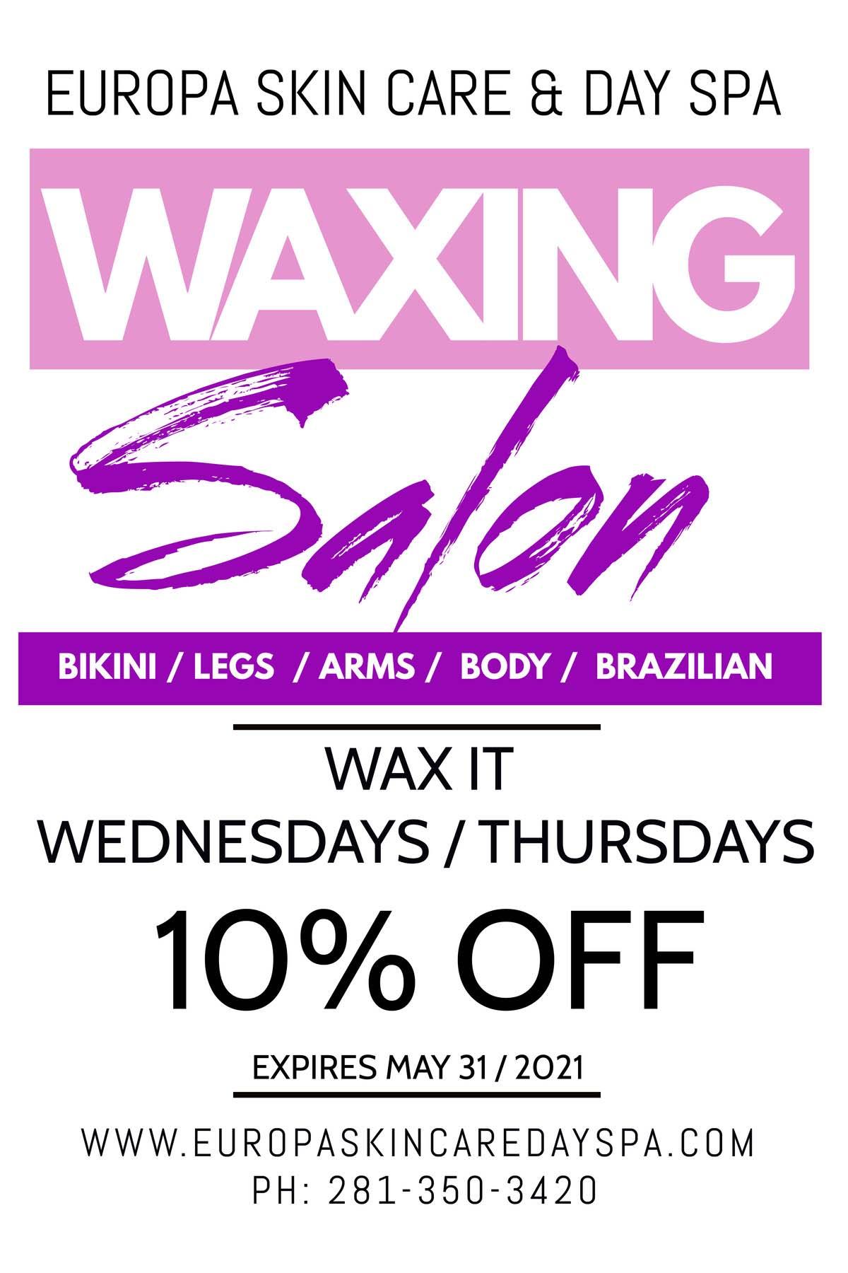 10 percent off waxing