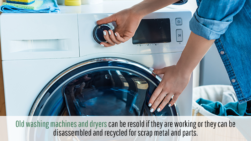 While it is true that there are some old appliances that cannot be sold and must be disposed of, but there are quite a few that can be recycled or donated. Old washing machines and dryers can be resold if they are working or they can be disassembled and recycled for scrap metal and parts.