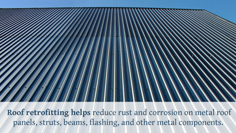 Metal roof panels and other metal roof components may develop rust and experience corrosion over time and exposure to the elements. Roof retrofitting helps reduce rust and corrosion on metal roof panels, struts, beams, flashing, and other metal components.