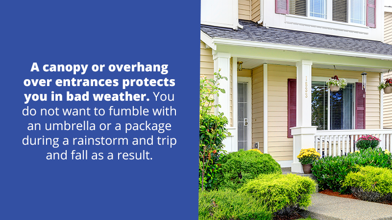 A canopy or overhang over entrances protects you in bad weather. You do notwant to fumble with an umbrella or a package during a rainstorm or snowstorm and trip and fall as a result.