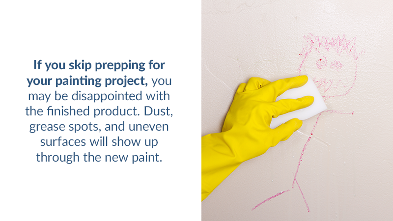 If you skip prepping for your painting project, you may be disappointed with the finished product. Dust, grease spots, and uneven surfaces will show up through the new paint.