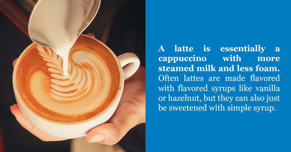 A latte is essentially a cappuccino with more steamed milk and less foam. Often lattes are made flavored with flavored syrups like vanilla or hazelnut, but they can also just be sweetened with simple syrup.