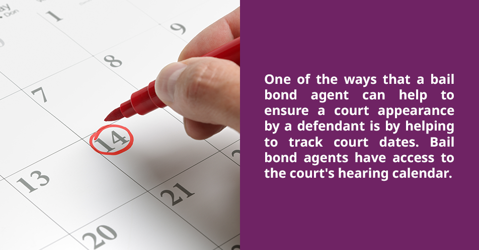 One of the ways that a bail bond agent can help to ensure a court appearance by a defendant is helping to track court dates. Bail bond agents have access to the court's hearing calendar.