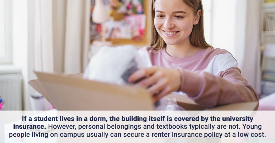 If a student lives in a dorm, the building itself is covered by the university insurance. However, personal belongings and textbooks typically are not. Young people living on campus usually can secure a renter insurance policy at a low cost.