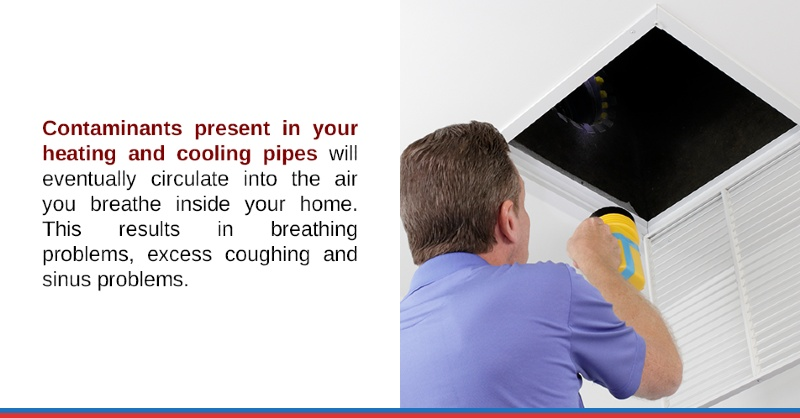 Contaminants present in your heating and cooling pipes will eventually circulate into the air you breathe inside your home. This results in breathing problems, excess coughing and sinus problems.