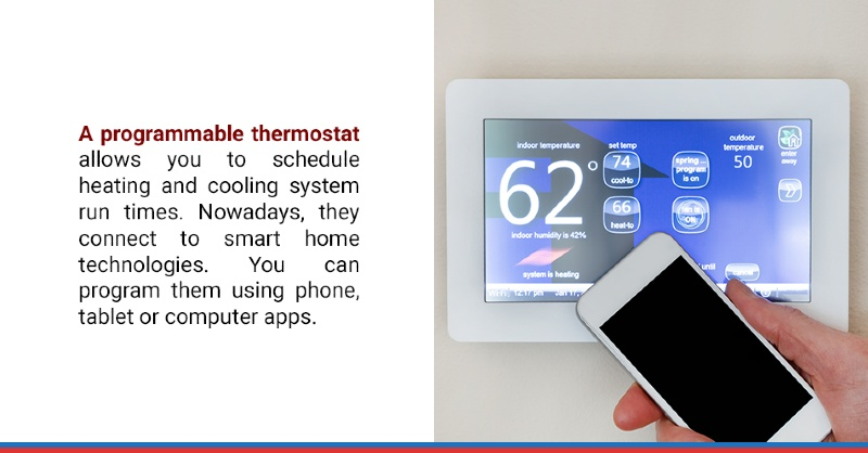 A programmable thermostat allows you to schedule heating and cooling system run times. Nowadays, they connect to smart home technologies. You can program them using phone, tablet or computer apps.