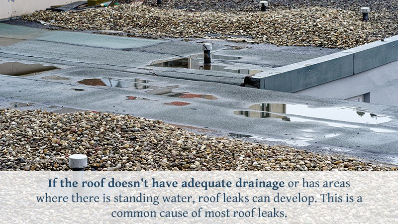 If the roof doesn't have adequate drainage or has areas where there is standing water, roof leaks can develop. This is a common cause of most roof leaks.