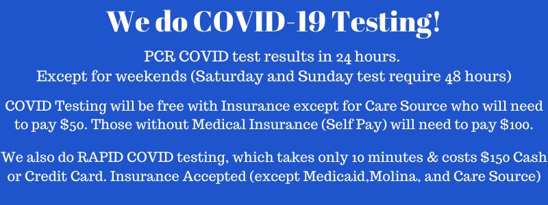 We do COVID testing!