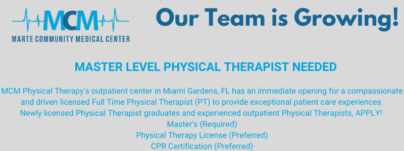 Master Level Physical Therapist Needed graphic
